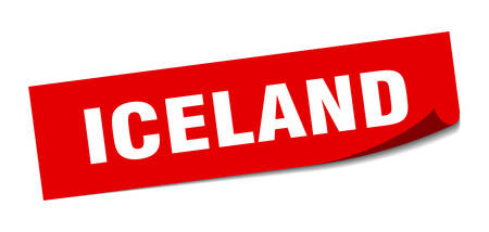 Iceland sticker. Iceland red square peeler sign