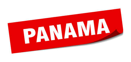 Panama sticker. Panama red square peeler sign Çizim