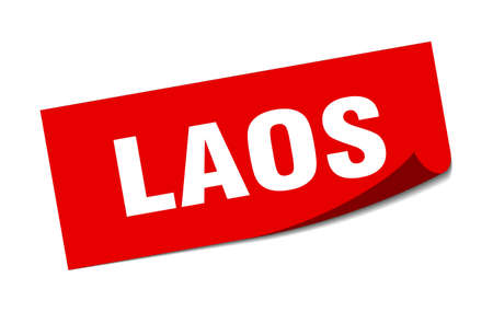 Laos sticker. Laos red square peeler sign Çizim