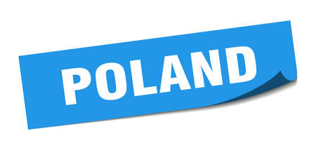 Poland sticker. Poland blue square peeler sign Çizim