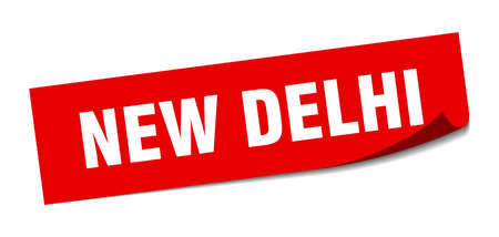New Delhi sticker. New Delhi red square peeler sign