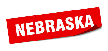 Nebraska sticker. Nebraska red square peeler sign Çizim