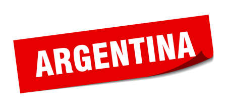 Argentina sticker. Argentina red square peeler sign