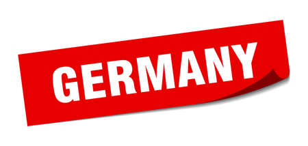 Germany sticker. Germany red square peeler sign Stok Fotoğraf - 134754365