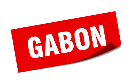 Gabon sticker. Gabon red square peeler sign Çizim