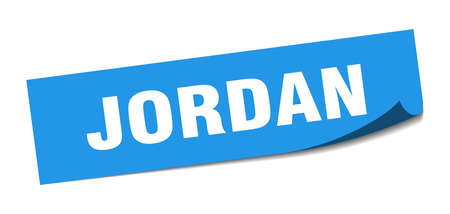 Jordan sticker. Jordan blue square peeler sign Stok Fotoğraf - 134754368