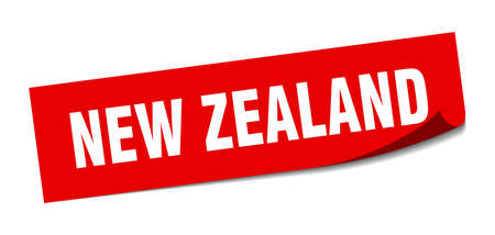New Zealand sticker. New Zealand red square peeler sign