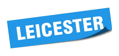 Leicester sticker. Leicester blue square peeler sign