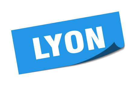 Lyon sticker. Lyon blue square peeler sign