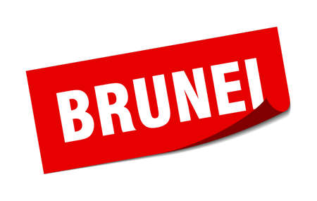 Brunei sticker. Brunei red square peeler sign