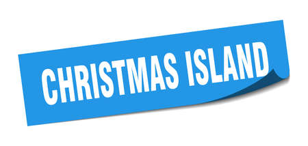 Christmas Island sticker. Christmas Island blue square peeler sign