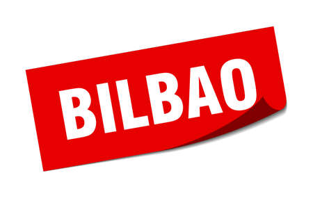 Bilbao sticker. Bilbao red square peeler sign