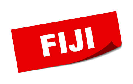 Fiji sticker. Fiji red square peeler sign