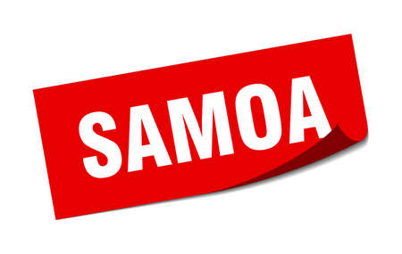 Samoa sticker. Samoa red square peeler sign