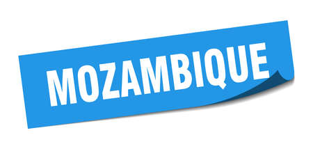 Mozambique sticker. Mozambique blue square peeler sign