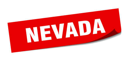 Nevada sticker. Nevada red square peeler sign