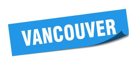 Vancouver sticker. Vancouver blue square peeler sign Stok Fotoğraf - 134754398