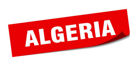 Algeria sticker. Algeria red square peeler sign Çizim