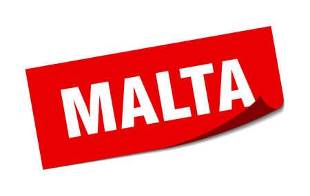 Malta sticker. Malta red square peeler sign