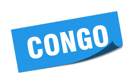 Congo sticker. Congo blue square peeler sign Standard-Bild - 134754446