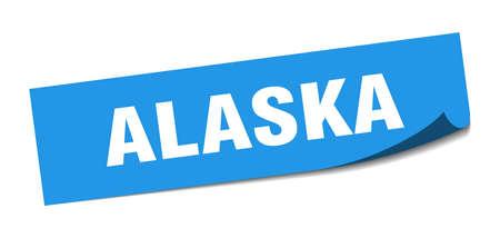 Alaska sticker. Alaska blue square peeler sign Иллюстрация