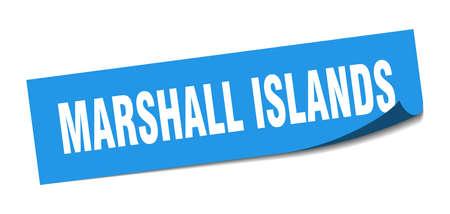 Marshall Islands sticker. Marshall Islands blue square peeler sign