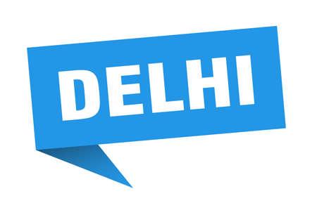 Delhi sticker. Blue Delhi signpost pointer sign 일러스트