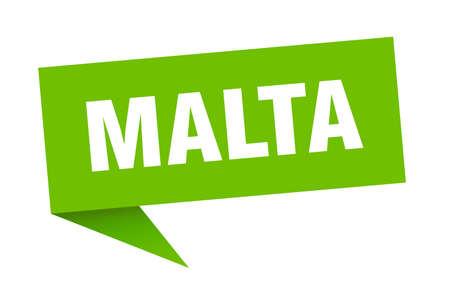Malta sticker. Green Malta signpost pointer sign
