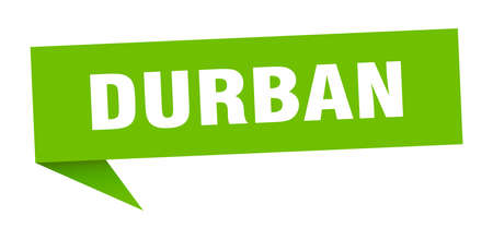 Durban sticker. Green Durban signpost pointer sign