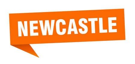 Newcastle sticker. Orange Newcastle signpost pointer sign Illustration