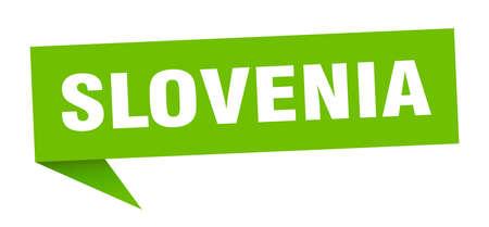 Slovenia sticker. Green Slovenia signpost pointer sign Illustration