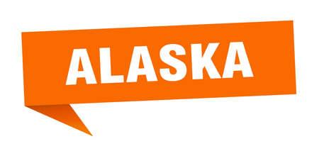 Alaska sticker. Orange Alaska signpost pointer sign Иллюстрация
