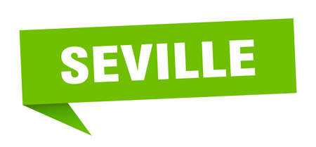 Seville sticker. Green Seville signpost pointer sign