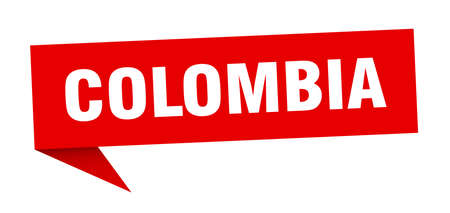Colombia sticker. Red Colombia signpost pointer sign