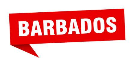 Barbados sticker. Red Barbados signpost pointer sign