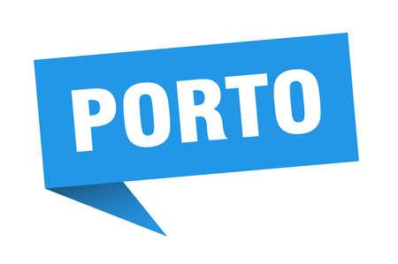 Porto sticker. Blue Porto signpost pointer sign
