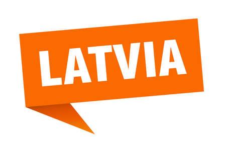 Latvia sticker. Orange Latvia signpost pointer sign
