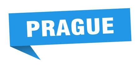 Prague sticker. Blue Prague signpost pointer sign