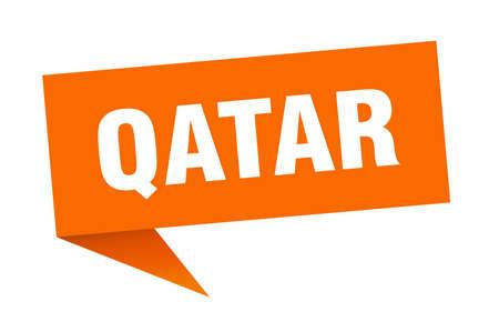Qatar sticker. Orange Qatar signpost pointer sign