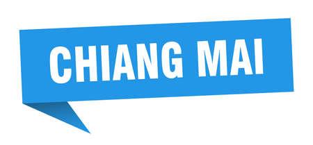 Chiang mai sticker. Blue Chiang mai signpost pointer sign