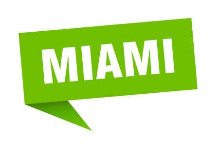 Miami sticker. Green Miami signpost pointer sign