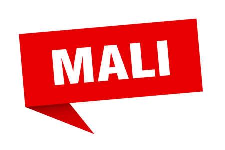 Mali sticker. Red Mali signpost pointer sign