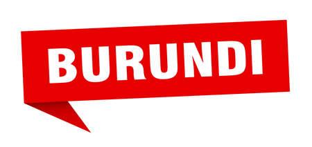 Burundi sticker. Red Burundi signpost pointer sign