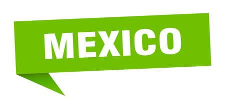 Mexico sticker. Green Mexico signpost pointer sign
