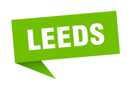 Leeds sticker. Green Leeds signpost pointer sign