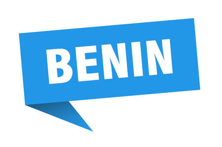 Benin sticker. Blue Benin signpost pointer sign