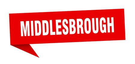 Middlesbrough sticker. Red Middlesbrough signpost pointer sign