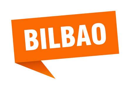 Bilbao sticker. Orange Bilbao signpost pointer sign  イラスト・ベクター素材