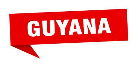 Guyana sticker. Red Guyana signpost pointer sign  イラスト・ベクター素材