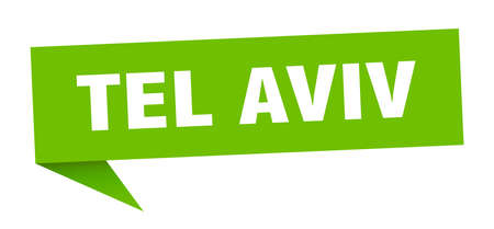 Tel Aviv sticker. Green Tel Aviv signpost pointer sign